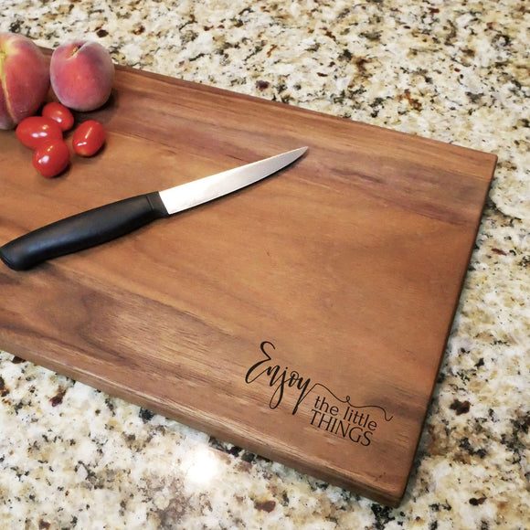 Enjoy The Little Things - Engraved Walnut Cutting Board (11