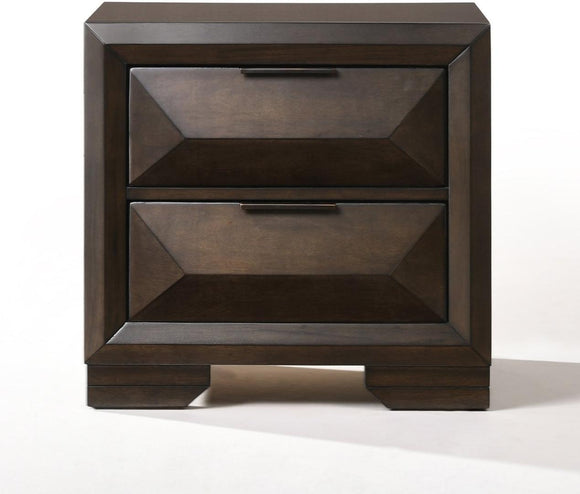 Espresso Rubber Wood Nightstand - 26