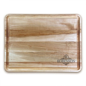 "Extra Large Personalized Maple Chopping Block With Juice Grooves (18"" x 24"") - Hailey Home"