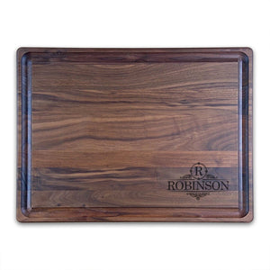 "Extra Large Personalized Walnut Chopping Block With Juice Grooves (15"" x 20"") - Hailey Home"