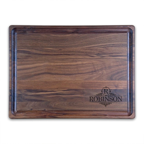 Extra Large Personalized Walnut Chopping Block With Juice Grooves (15