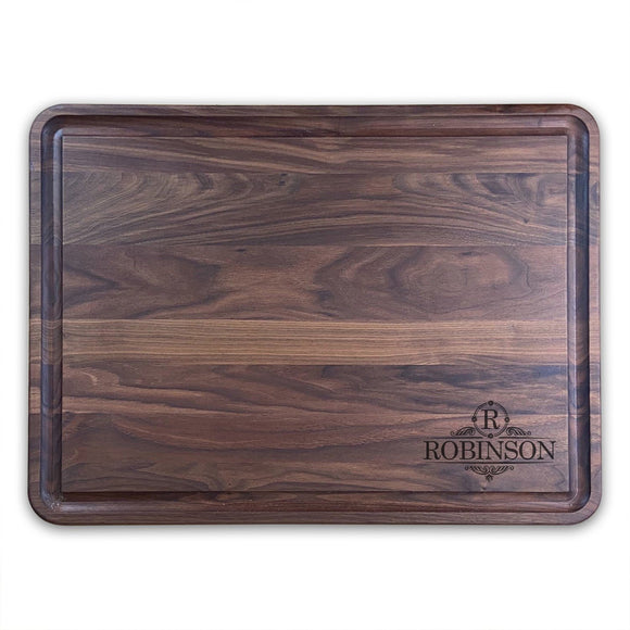 Extra Large Personalized Walnut Chopping Block With Juice Grooves (18