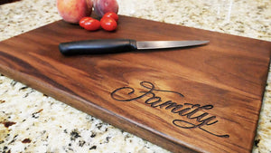 "Family - Custom Engraved Walnut Cutting Board - (11"" x 16"") - Hailey Home"