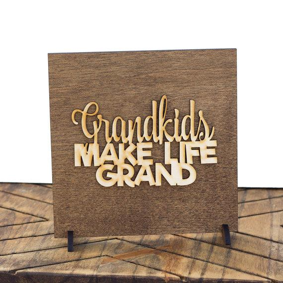 Grandkids Make Life Grand . Wood Sign - Hailey Home
