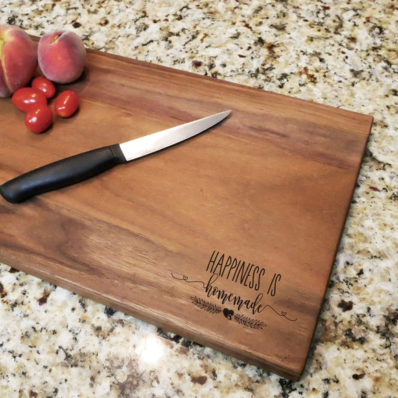 Happiness is Homemade - Engraved Walnut Cutting Board (11
