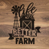 "Life Is Better On The Farm - Walnut Cutting Board (11"" x 16"") - Hailey Home"