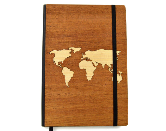 Map Design Wooden Journal - Hailey Home