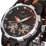 Men's Dual Wheel Automatic Ebony & Rosewood Watch - Hailey Home