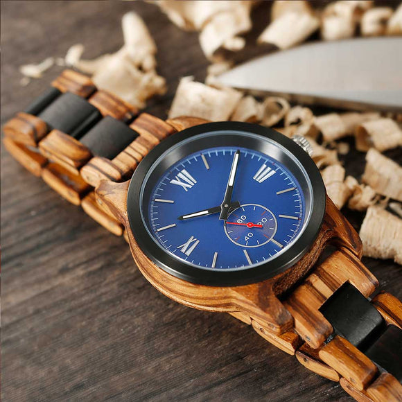Men's Handcrafted Zebra Ebony Wood Watch - Hailey Home