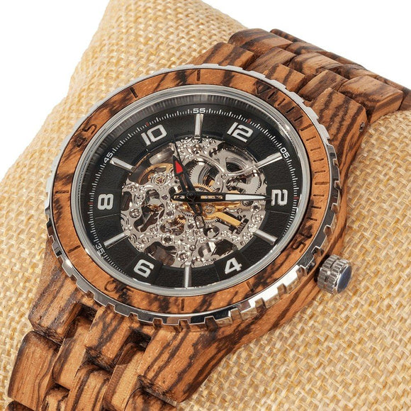 Men's Premium Self-Winding Zebra Wood Watch - Hailey Home