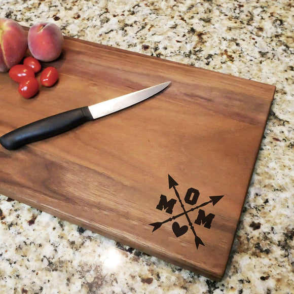 Mom Crossed Arrows - Walnut Cutting Board (11
