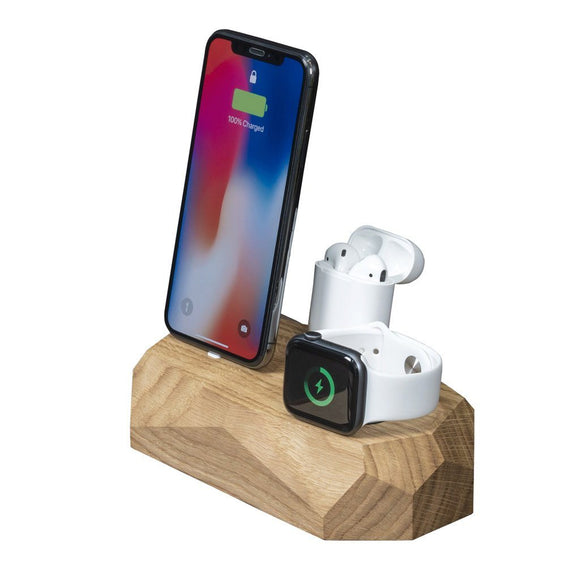 Hardwood Triple Dock - iPhone, Apple Watch, AirPods charger