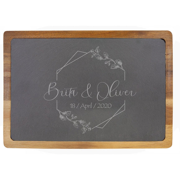 Personalized Acacia Wood & Slate Cutting Board (13