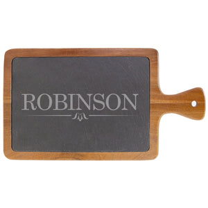 "Personalized Acacia Wood & Slate Cutting Board With Handle (13 1/4"" x 7"") - Hailey Home"