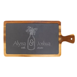 "Personalized Acacia Wood & Slate Cutting Board With Handle (16"" x 7 3/4"") - Hailey Home"