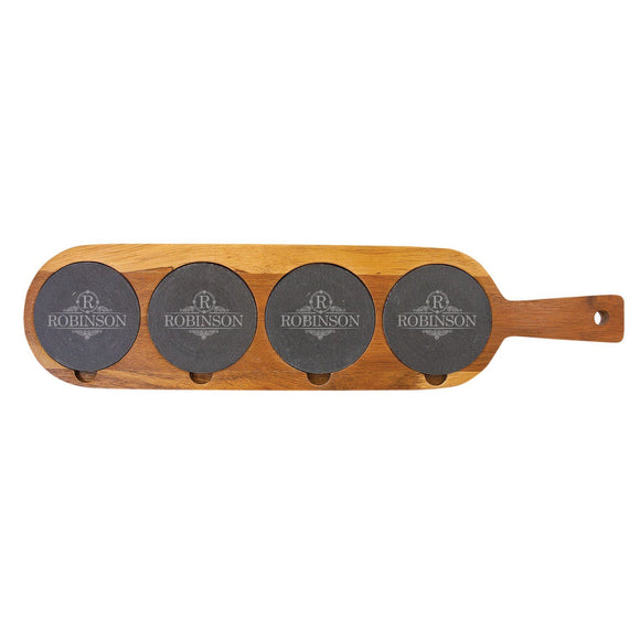 Personalized Acacia Wood & Slate Flight Board Drink Tray (18.5