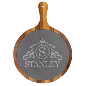 "Personalized Acacia Wood & Slate Round Serving Tray (14 1/2"" x 10 1/2"") - Hailey Home"