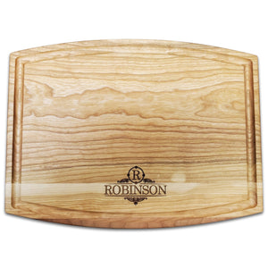 "Personalized Arched Cherry Cutting Board With Juice Groove - 9.5"" x 12"" - Bulk Discounts - Hailey Home"