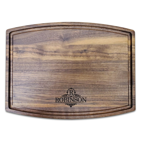Personalized Arched Walnut Cutting Board With Juice Groove - 9.5