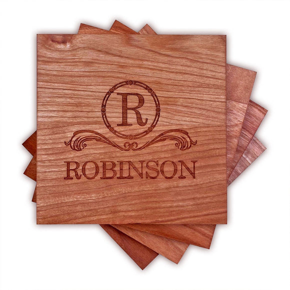Personalized Cherry Wood Coasters (4