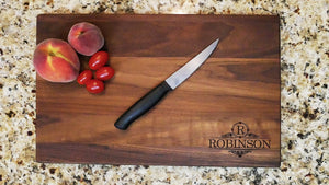 "PERSONALIZED ENGRAVED WALNUT CUTTING BOARD - (11"" x 16"") - 20% OFF w/Code ""SAVEME20"" - Hailey Home"