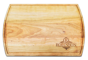 "Personalized Large Cherry Cutting Board With Juice Groove - 10.5"" x 16"" - Bulk Discounts - Hailey Home"