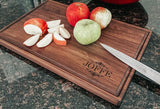 "Personalized Large Walnut Cutting Board With Juice Groove (11"" x 17"") - Hailey Home"