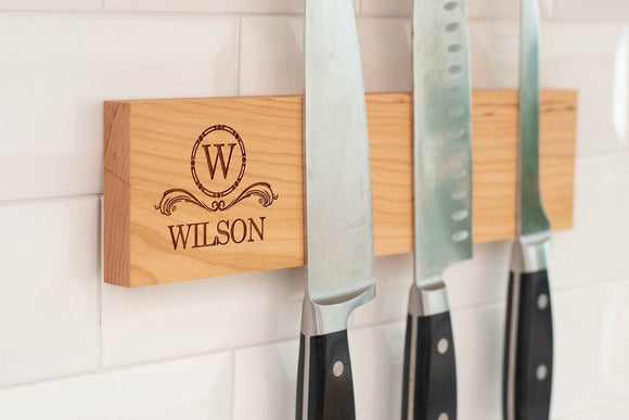 Personalized Magnetic Knife Holder - Cherry - Hailey Home
