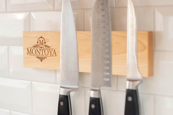 Personalized Magnetic Knife Holder - Maple - Hailey Home