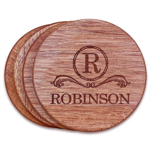 "Personalized Mahogany Wood Coasters (4"" round) - Hailey Home"