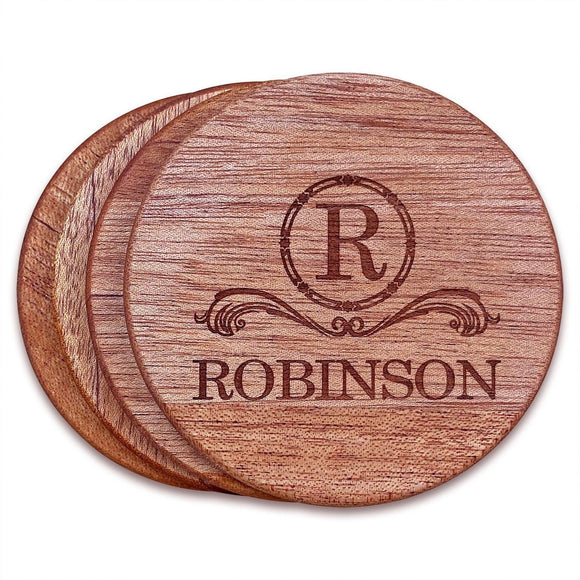 Personalized Mahogany Wood Coasters (4
