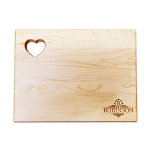 "Personalized Maple Cutting Board - Heart (9"" x 12"") - Hailey Home"