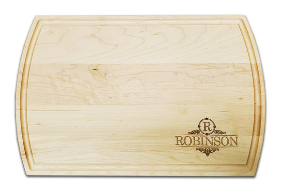 Personalized Maple Cutting Board With Arched Sides And Juice Groove (10.5
