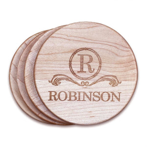 "Personalized Maple Wood Coasters (4"" round) - Hailey Home"