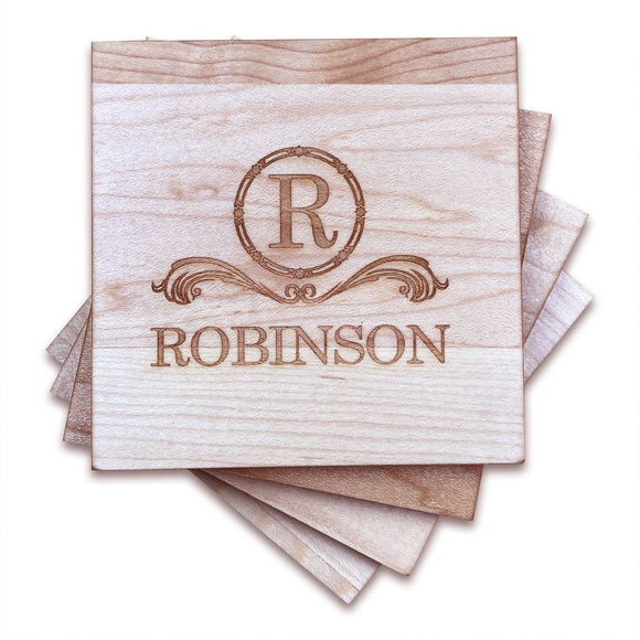 Personalized Maple Wood Coasters (4