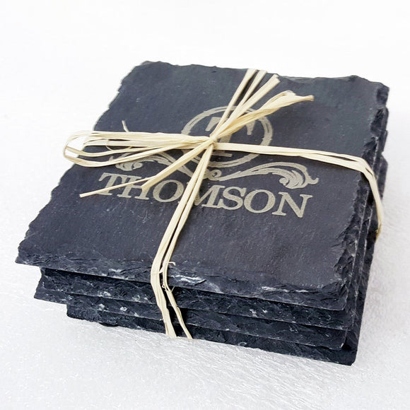 Personalized Rustic Slate Coaster Set (4