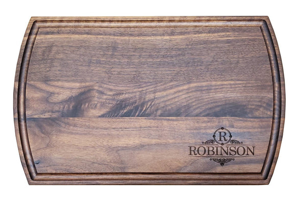 Personalized Walnut Cutting Board With Arched Sides And Juice Groove (10.5