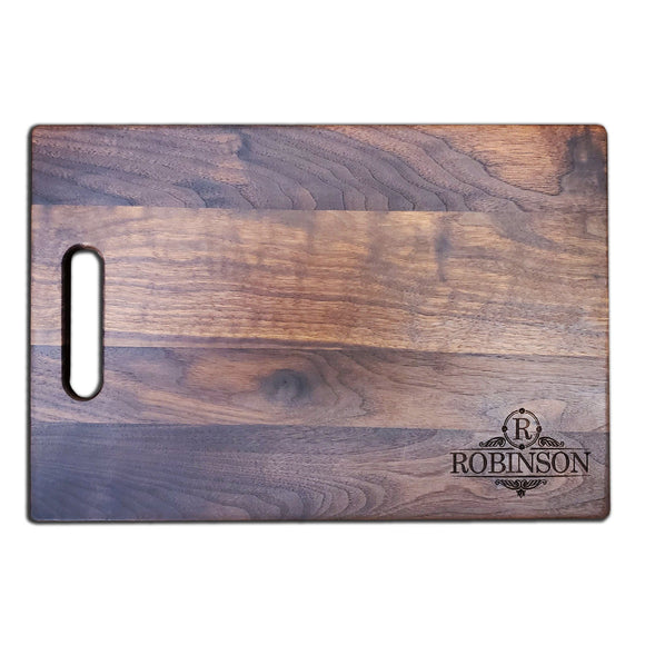 Personalized Walnut Cutting Board With Handle (11