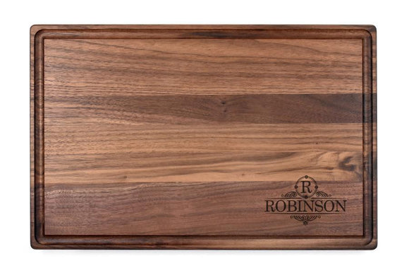 Personalized Walnut Cutting Board With Rounded Edges And Juice Groove - 11