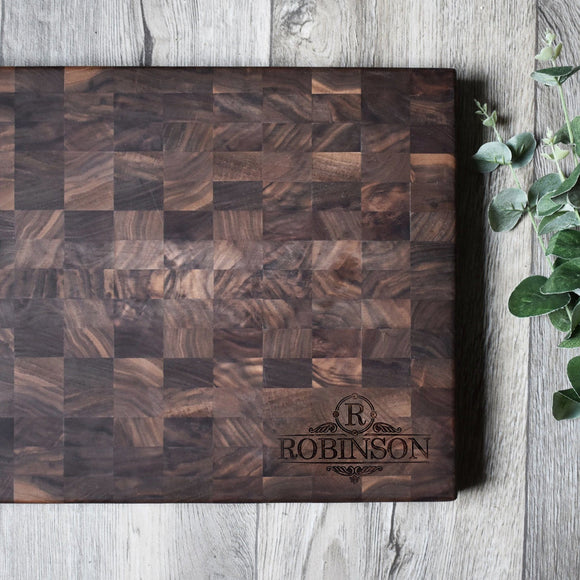Personalized Walnut End-Grain Chopping Block (14
