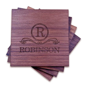 "Personalized Walnut Wood Coasters (4"" square) - Hailey Home"