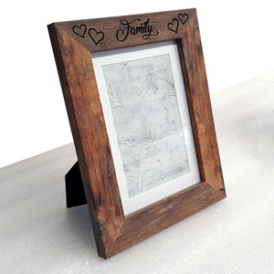 "Rustic Hearts Custom Engraved 4""x6"" Picture Frame - MDF - Hailey Home"