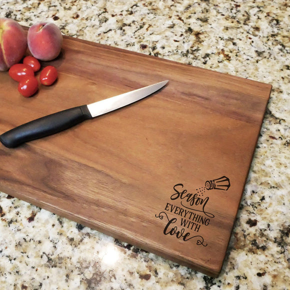 Season Everything With Love - Engraved Walnut Cutting Board (11