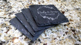 "Set of 8 Celebration Date Monogram Engraved Slate Coasters 4"" x 4"" - Hailey Home"