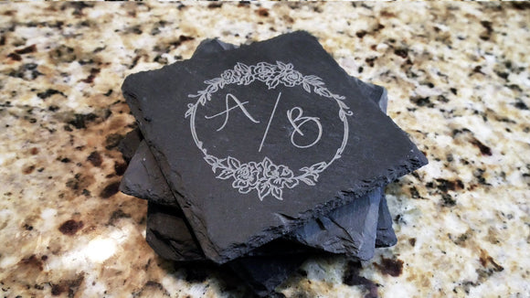 Set of 8 Double Initial Monogram Engraved Slate Coasters 4