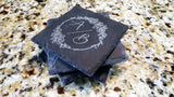 "Set of 8 Double Initial Monogram Engraved Slate Coasters 4"" x 4"" - Hailey Home"