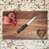 "Sister Floral Heart - Engraved Walnut Cutting Board (11"" x 16"") - Hailey Home"