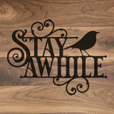 "Stay a While - Engraved Walnut Cutting Board (11"" x 16"") - Hailey Home"