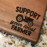 "Support Your Local Farmer - Walnut Cutting Board (11"" x 16"") - Hailey Home"