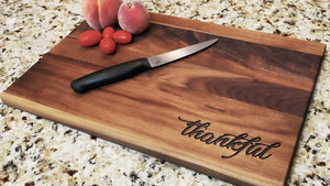 "Thankful - Engraved Walnut Cutting Board (11"" x 16"") - Hailey Home"
